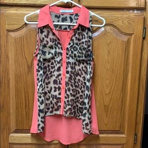 Leopard and coral sleeveless